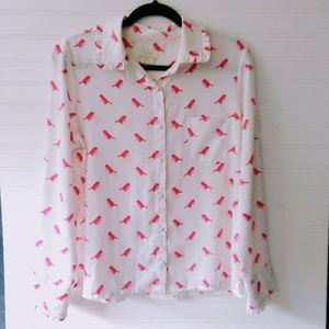 KATE SPADE | Pink Sparrow Button Down Blouse Sm